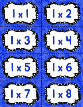Math Fact Fluency Multiplication Practice 1-12&15 {BLUE} Flash Cards