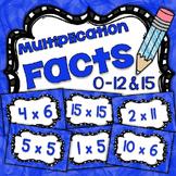 Math Fact Fluency Multiplication Practice 1-12&15 {BLUE} F