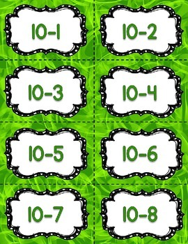 Subtraction Fact Fluency Practice Cards within 20 {GREEN} Flash Cards