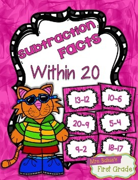 Fact Fluency Practice Cards Subtraction within 20 {PINK} F