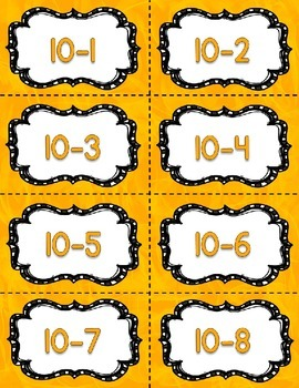 Fact Fluency Practice Cards Subtraction within 20 {YELLOW} Flash Cards