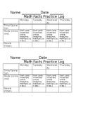 Fact Fluency Practice Log **Editable**
