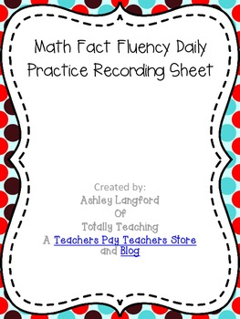 Fact Fluency Practice Recording Sheet