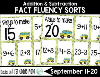 Math Fact Fluency for September (11 to 20)