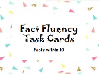 Fact Fluency Task Cards within 10