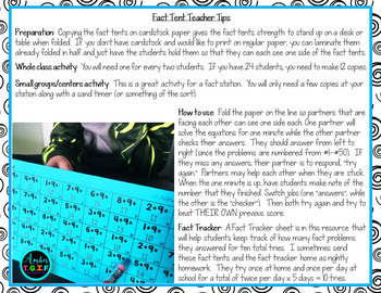Fact Fluency Tents (no more flash cards) Add, Subtract, Multiply and Divide