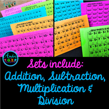 Fact Fluency Tents Addition, Subtraction, Multiply, Divide Facts Practice Bundle