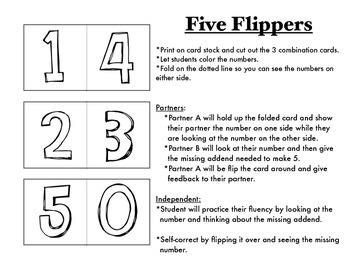 Decomposing/Composing 5: Fact Fluency Within 5