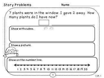 Fact Fluency Word Problems (Add and Subtract)-Pack 1 (First Grade, 1.OA.1)
