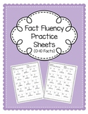 Fact Fluency Worksheets (0-10 Facts)