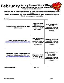 Fact Homework Bingo for February