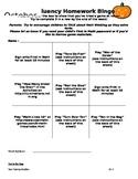 Fact Homework Bingo for October