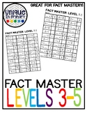 Fact Master Levels 3-5, missing addend, breaking apart numbers, fact practice