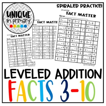Fact Master: Numbers 3-10; breaking apart numbers, missing addends addition