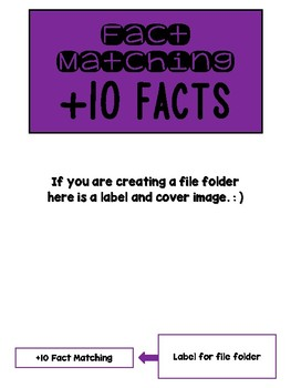 Fact Memory/File Folder Activity: +10 FACTS