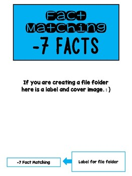 Fact Memory/File Folder Activity: -7