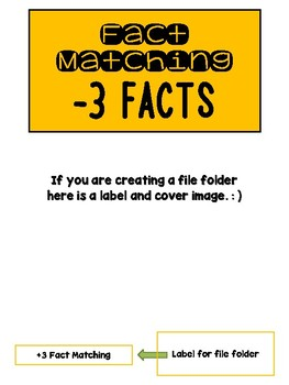 Fact Memory/File Folder Activity: SUBTRACTION 1-10