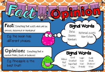Fact & Opinion Anchor Chart & Task Cards