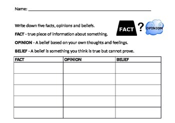 Fact Opinion Belief Table Editable