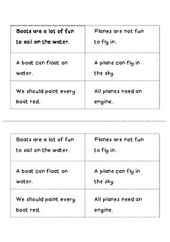 Fact & Opinion - Boat & Plane