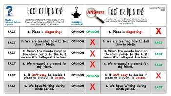 Fact & Opinion Cards