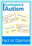 Fact Opinion Reading Comprehension Autism Special Education