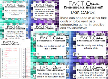 Fact, Opinion, Commonplace Assertion Task Cards or Categorizing Game