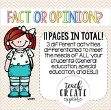Fact and Opinion Differentiated Worksheets