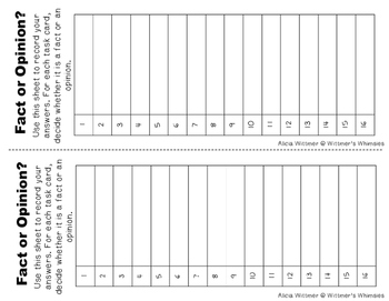 Fact & Opinion HUNT {Task Card Set}