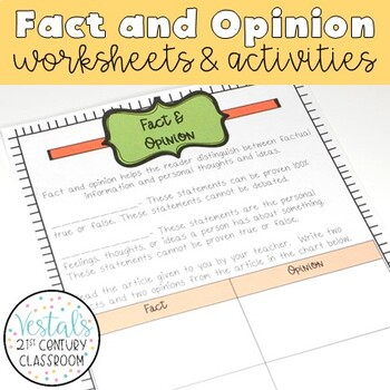 Fact & Opinion Interactive Notes and Worksheets