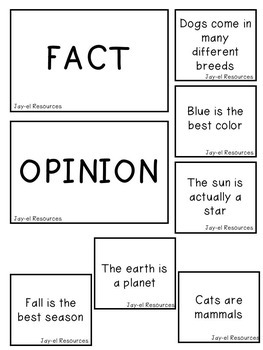 Fact & Opinion Match Cards Activity