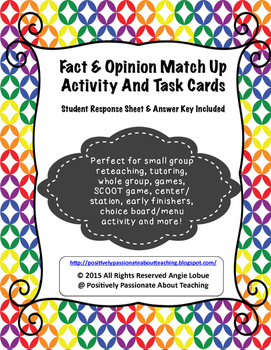 Fact and Opinion Task Cards and Matching Activity