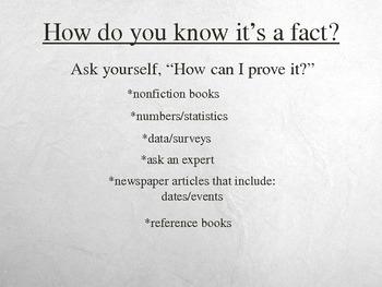 Fact & Opinion Powerpoint Presentation