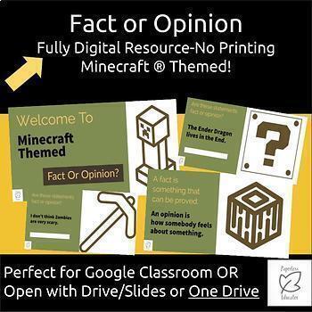 Australian Curriculum Fact Or Opinion - Minecraft® Themed Digital Resource