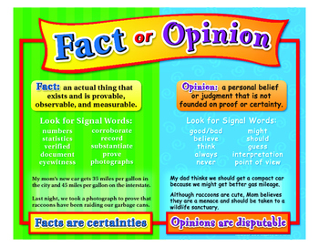 """Fact Or Opinion Poster- 8½"""" x 11"""""""