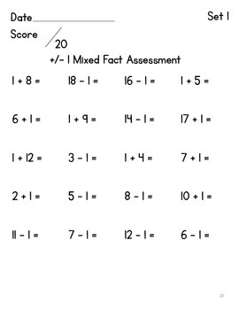 Fact Practice:  Adding & Subtracting 1