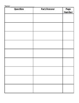 Fact/Question Organizing Sheet