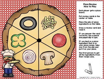 Fact Review Game for Any Subject Build a Pizza