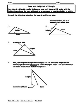 Fact Sheet for the Base and Height of a Triangle