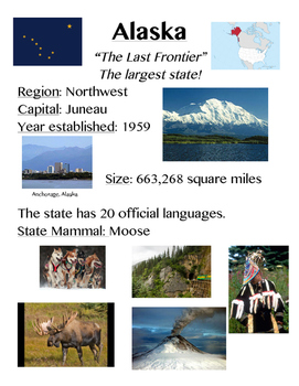 Fact Sheets About all 50 States in the United States of America - with pictures