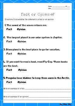Fact Vs Opinion Worksheet