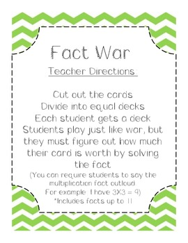 Fact War - Common Core Aligned Multiplication Game