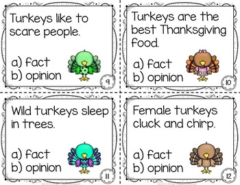 Turkeys Reader and  Fact and Opinion Task Cards