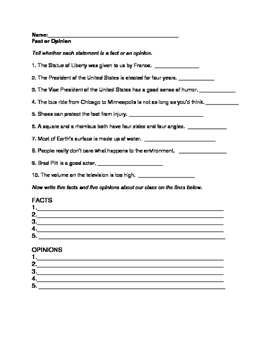 Fact and Opinion: 2 Worksheets for Grades 3, 4, 5