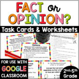 Fact and Opinion Worksheets & Task Cards Digital Distance Learning