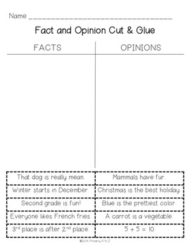 Fact and Opinion {Anchor Charts and Printables}