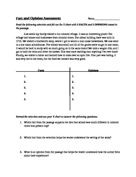 Fact and Opinion Assessment 5th grade