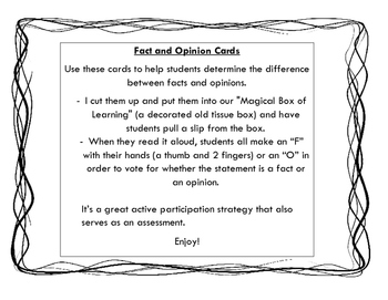 Fact and Opinion Cards