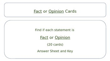 Fact and Opinion Cards *FREE*