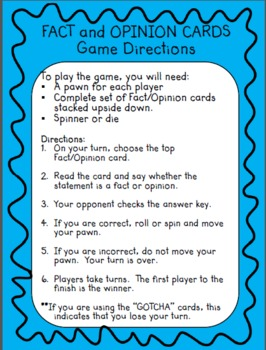 Fact and Opinion  - Cards for Games, Literacy Centers, and More